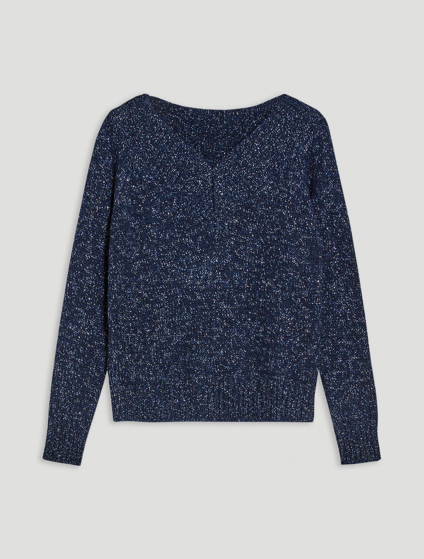 Pullover in a lamé alpaca blend - navy blue - pennyblack