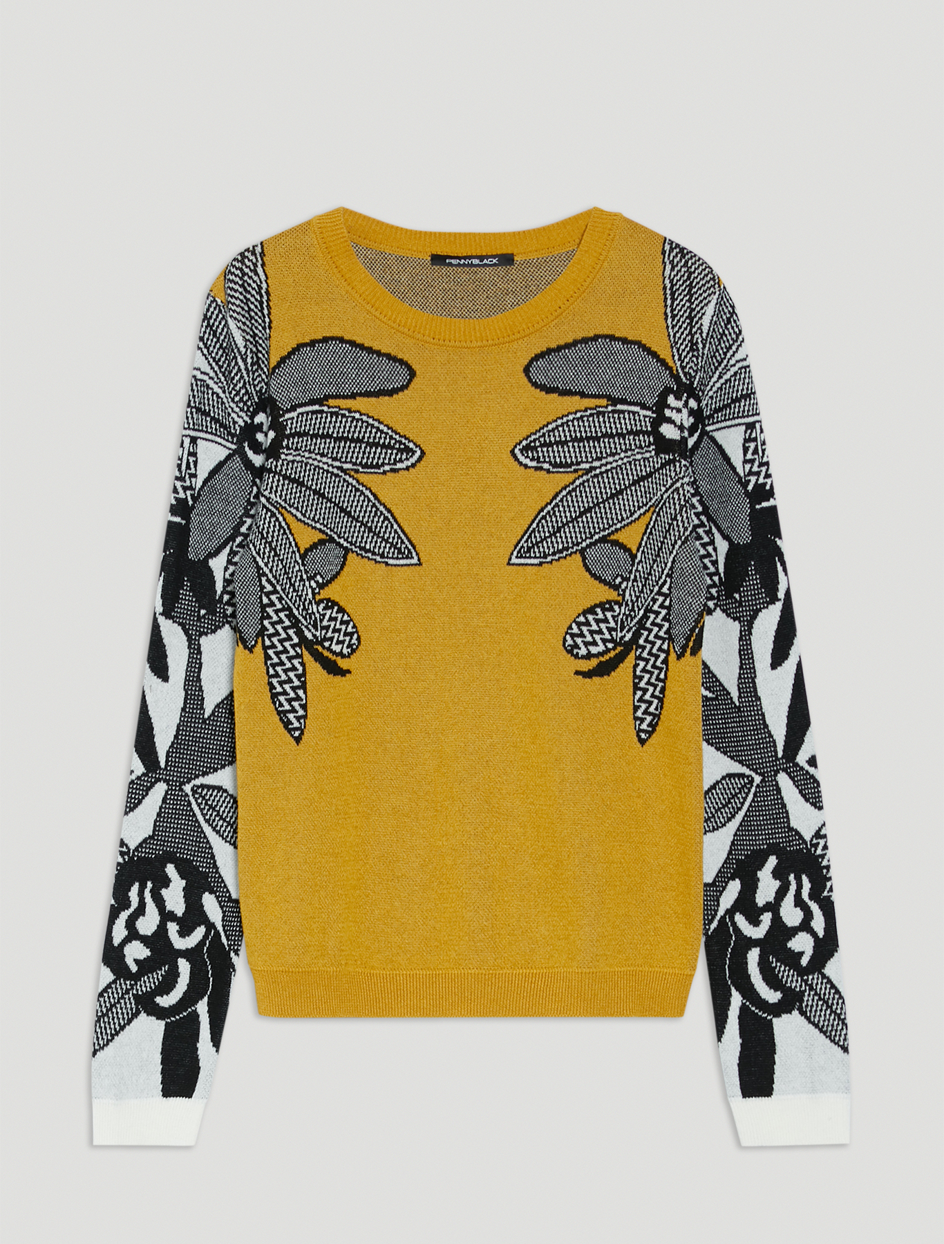 Floral jacquard jumper - mustard - pennyblack
