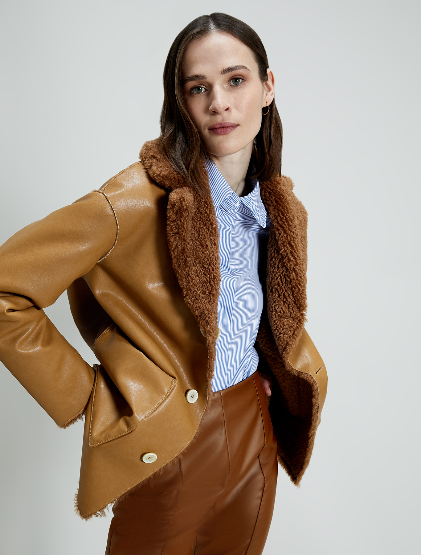 Reversible Teddy coat - camel - pennyblack