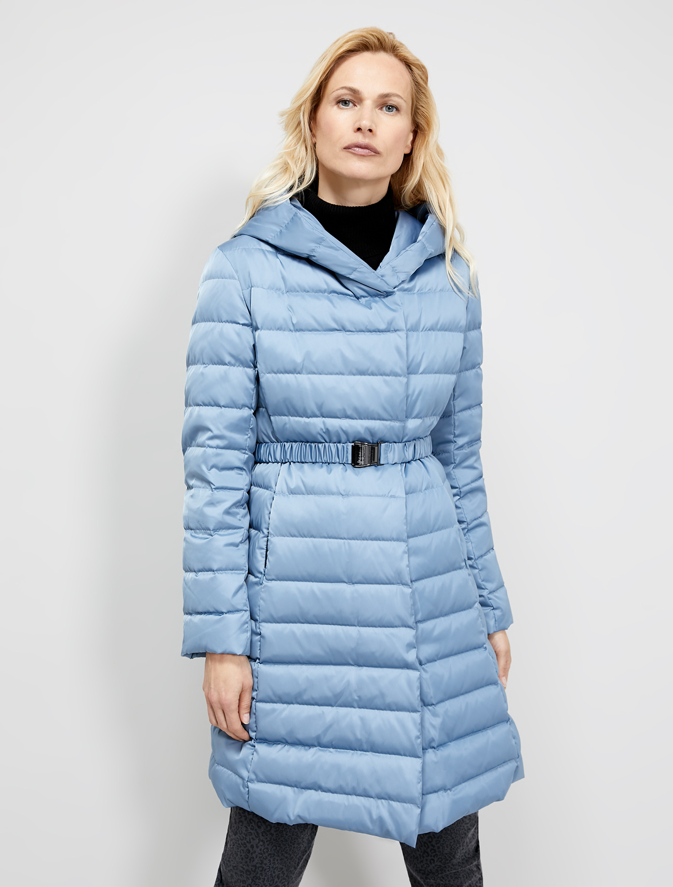 Technical satin down jacket - air force blue - pennyblack