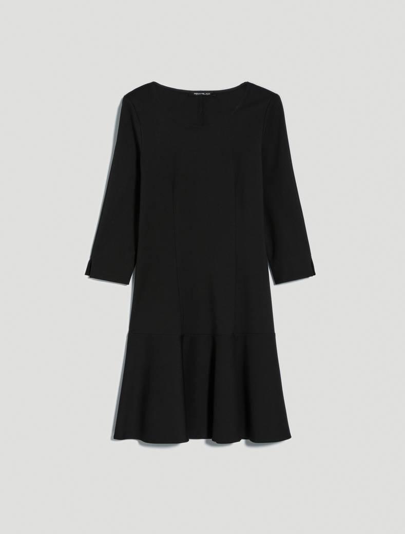 Jersey dress with flounce - black - pennyblack