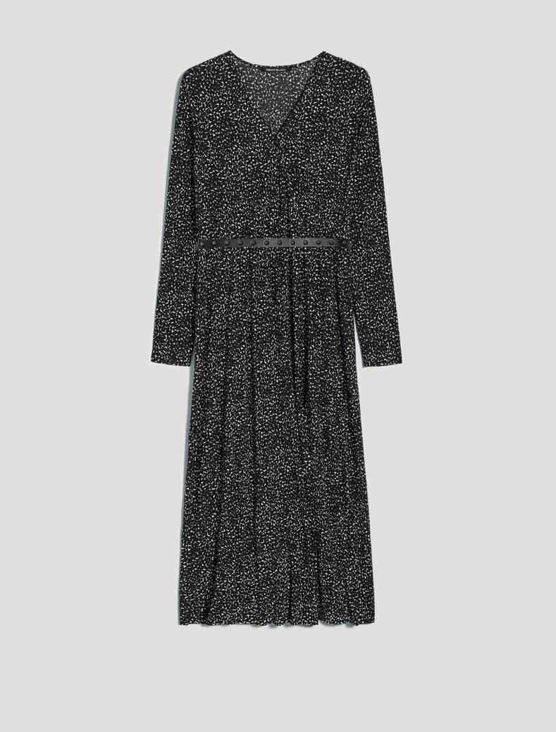 Micro-patterned jersey dress - black pattern - pennyblack