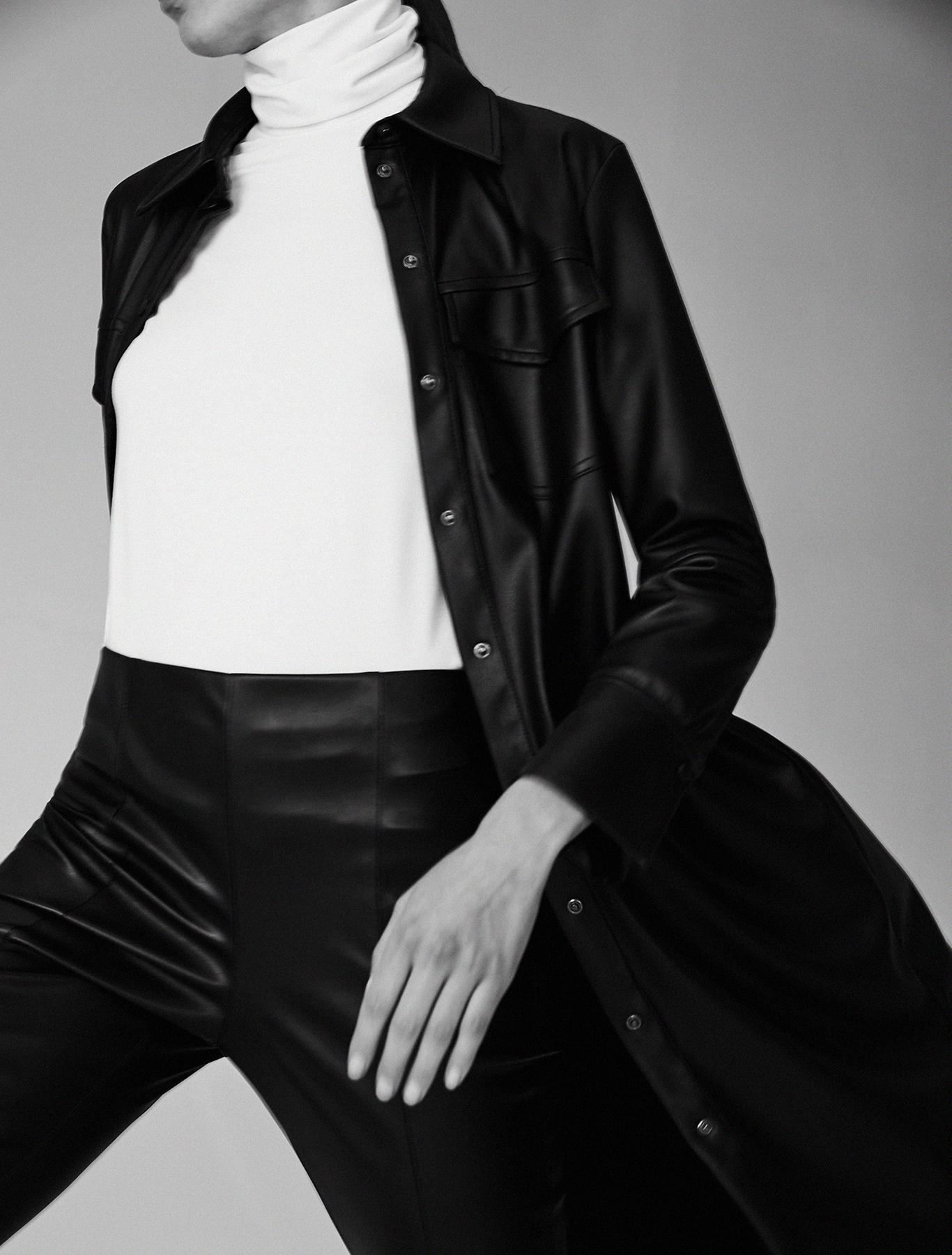 Coated jersey shirt dress - black - pennyblack