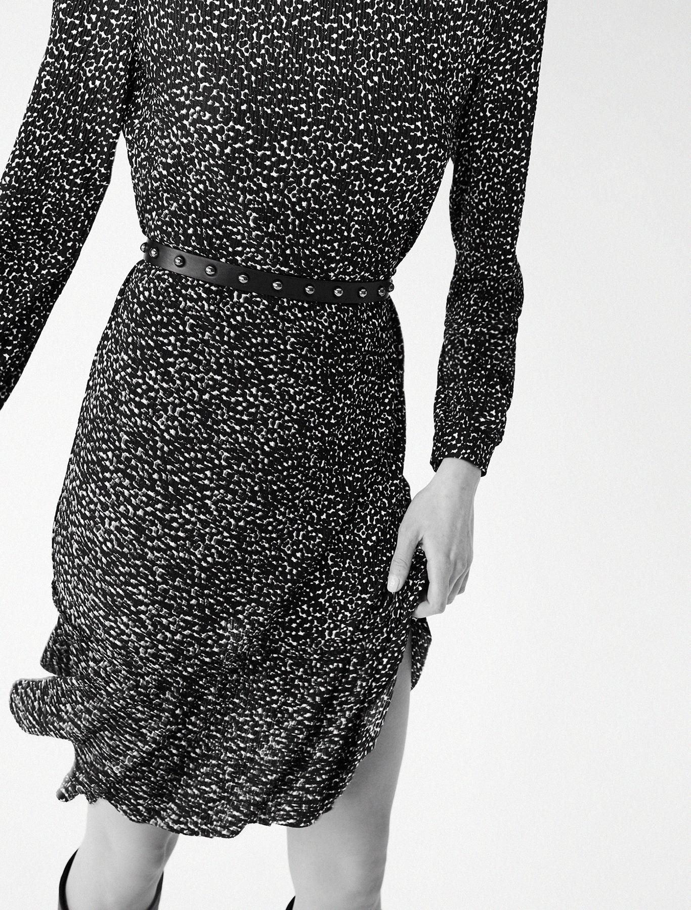 Micro-pleated jersey dress - black pattern - pennyblack