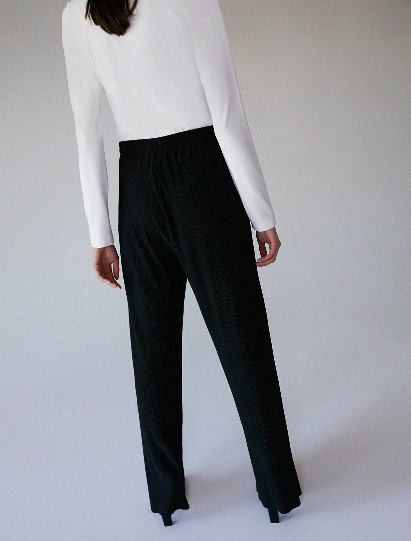 Trousers in micro-pleated jersey - black - pennyblack