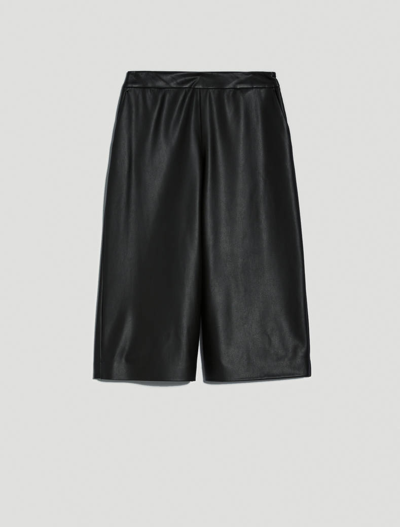 Culotte pants in jersey spalmato - nero - pennyblack