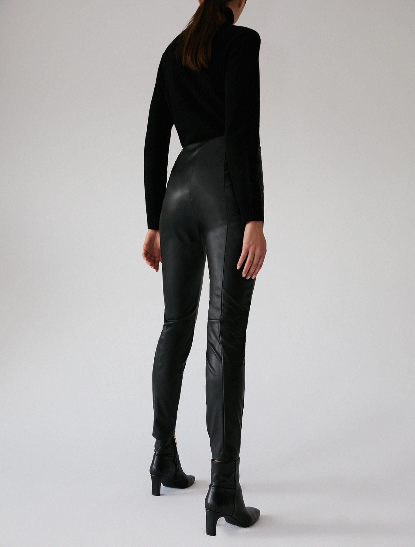Skinny pants in coated jersey - black - pennyblack