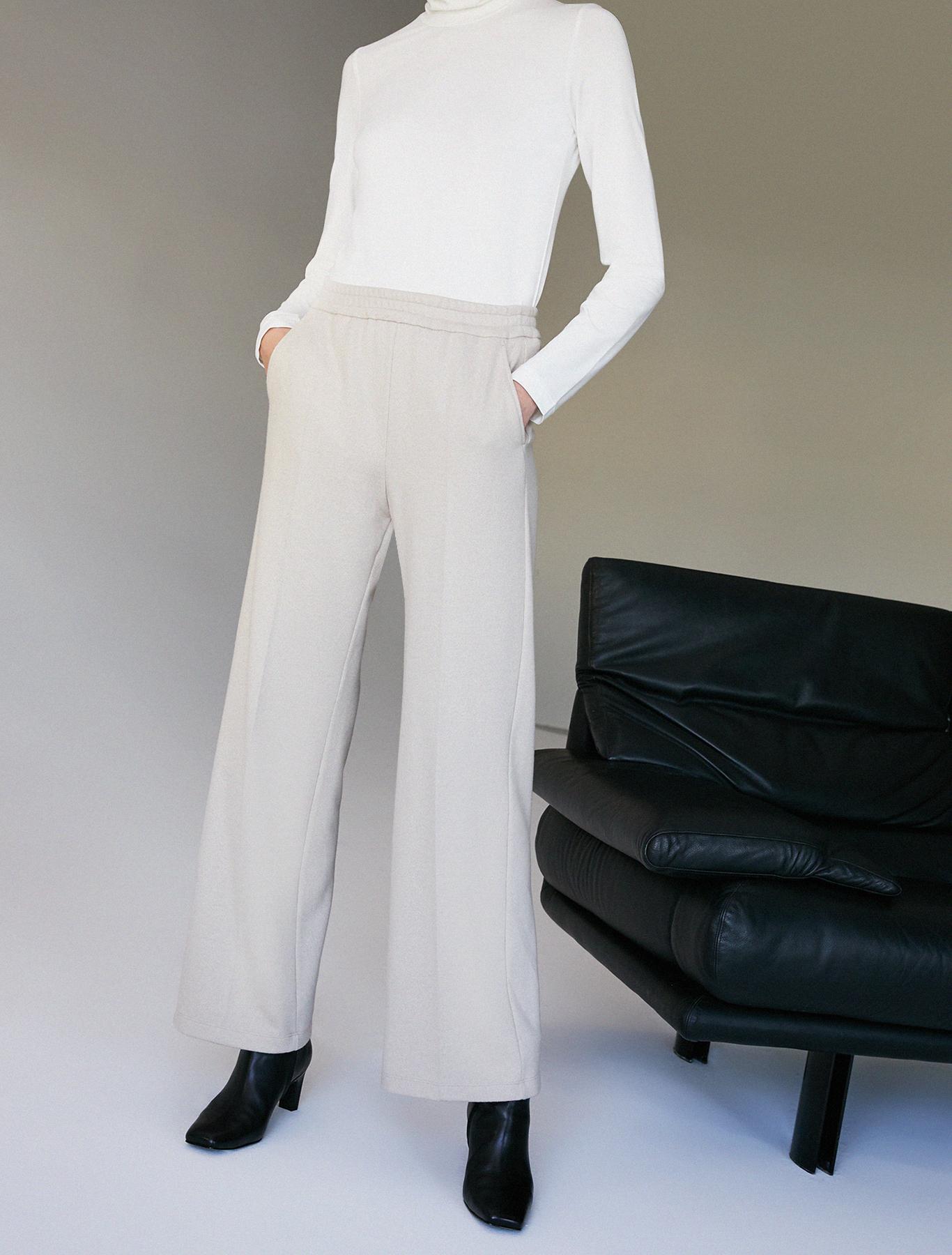Wide-leg trousers in jersey - sand pattern - pennyblack