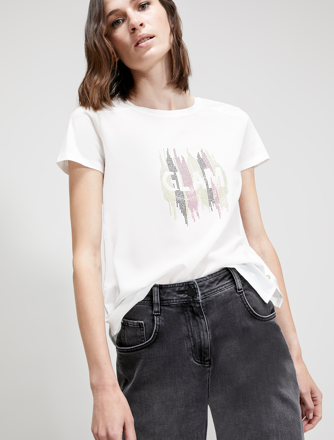 T-shirt with stud pattern - white - pennyblack