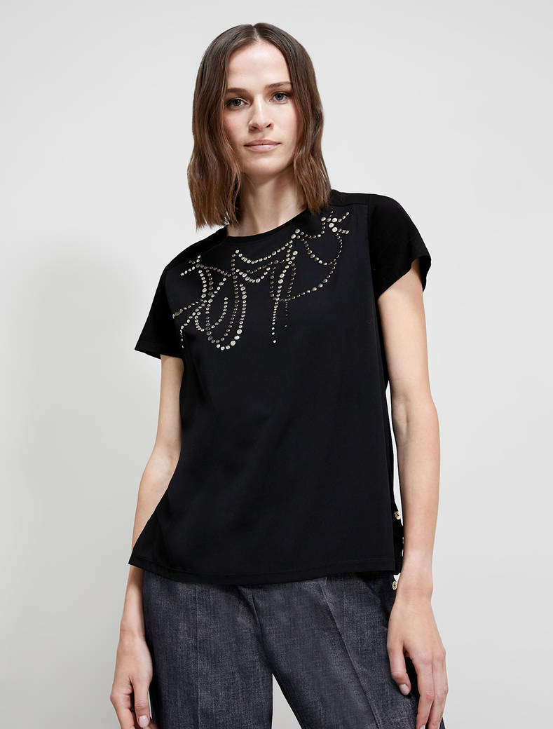 T-shirt with stud pattern - black - pennyblack