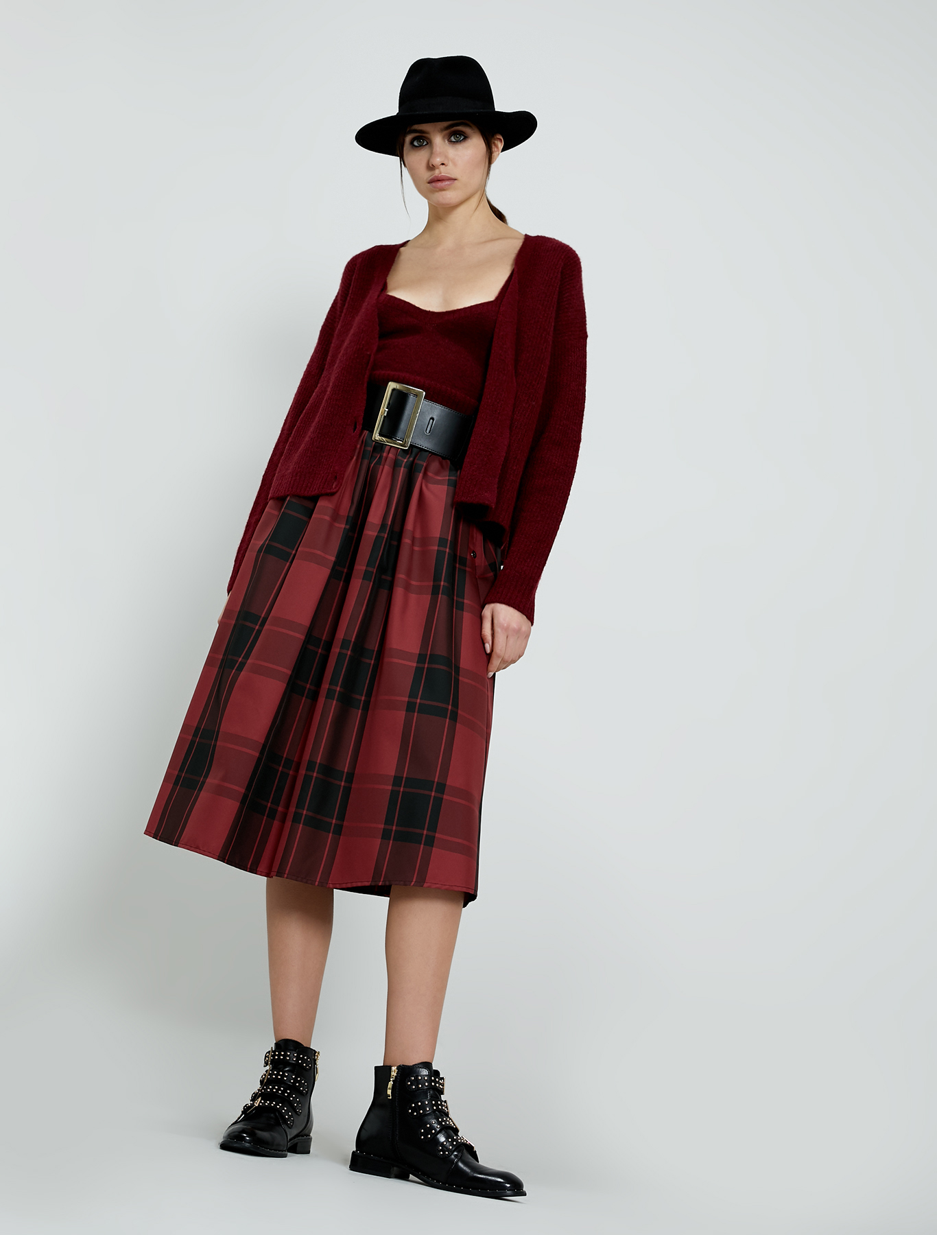 Checked taffeta skirt - burgundy - pennyblack