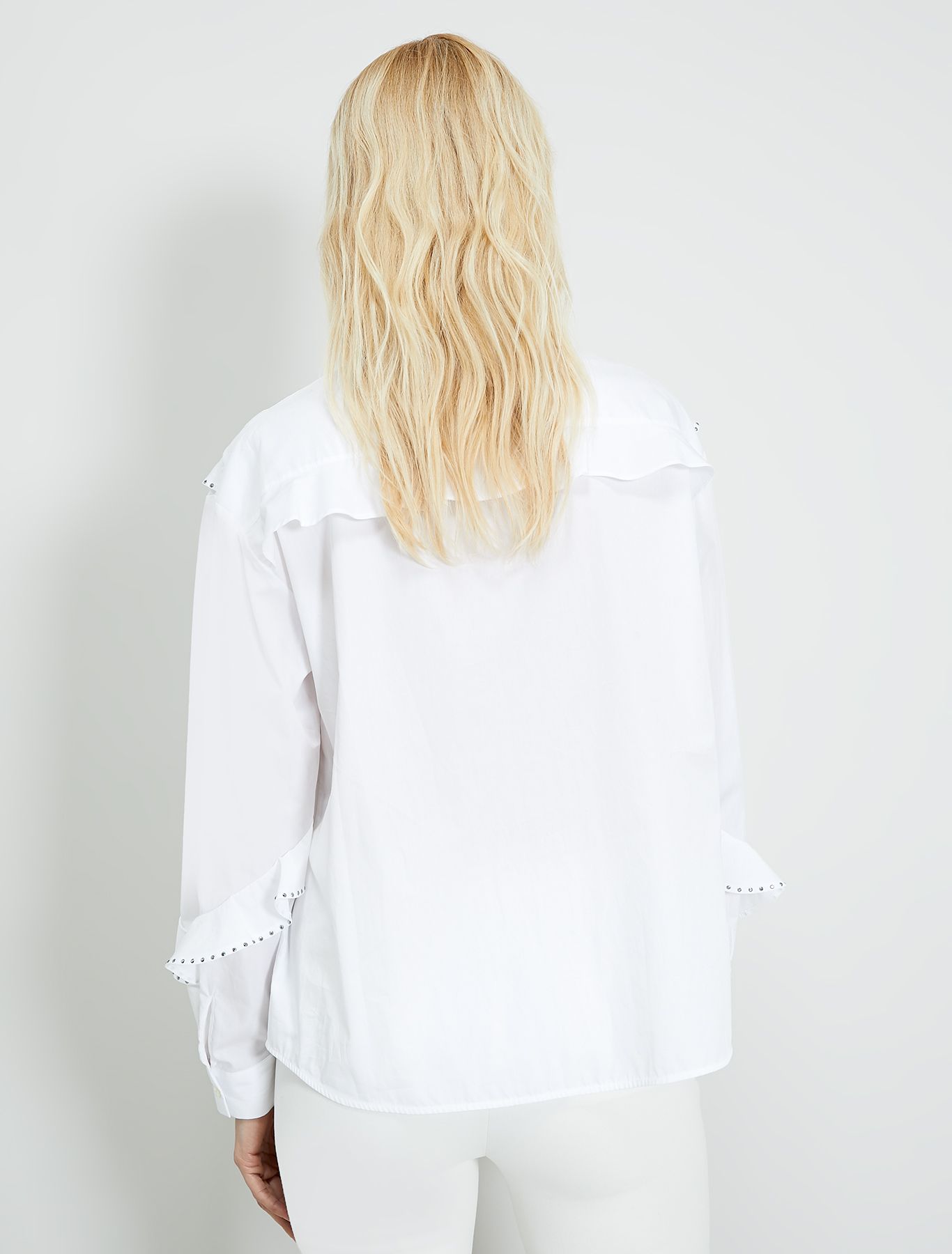 Shirt with flounces and studs - white - pennyblack