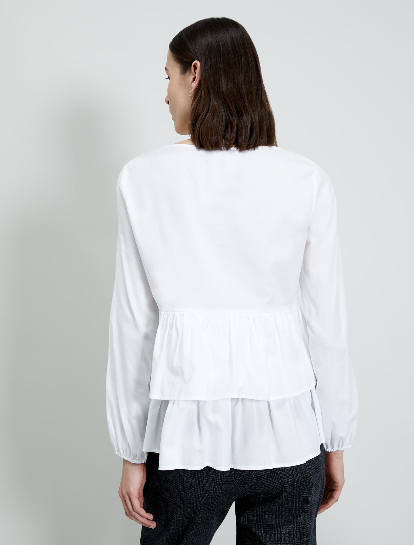 Cotton blouse with flounces - white - pennyblack