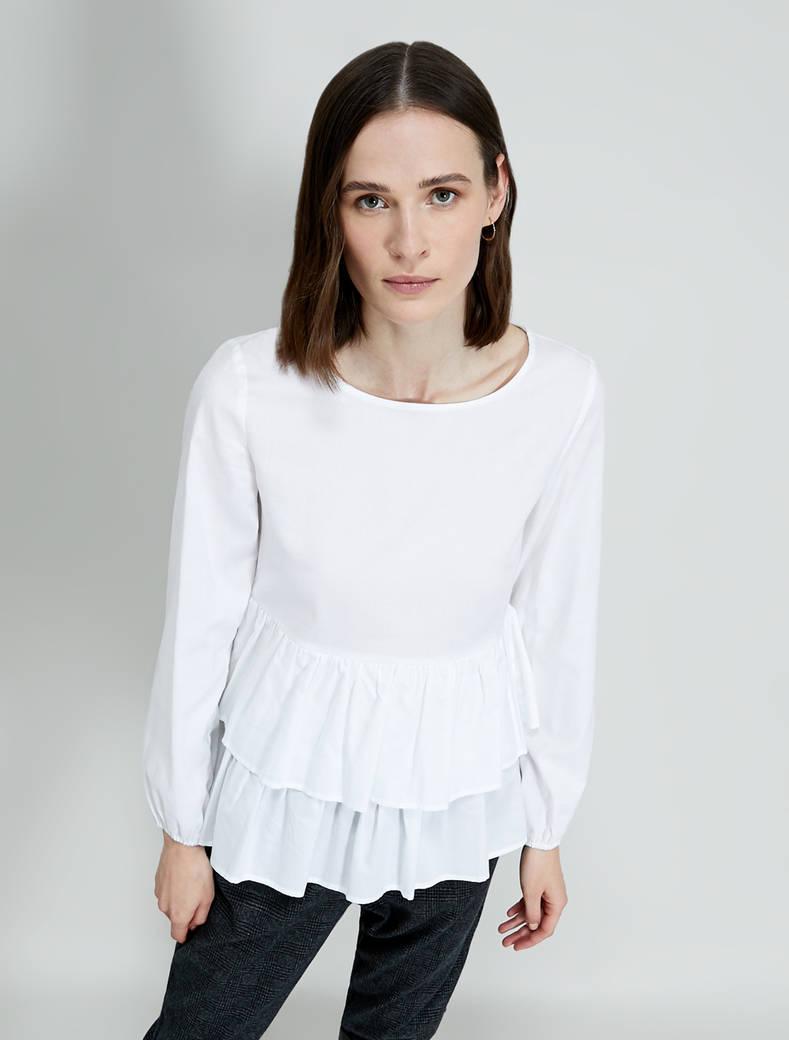 Blusa in cotone con balze - bianco - pennyblack