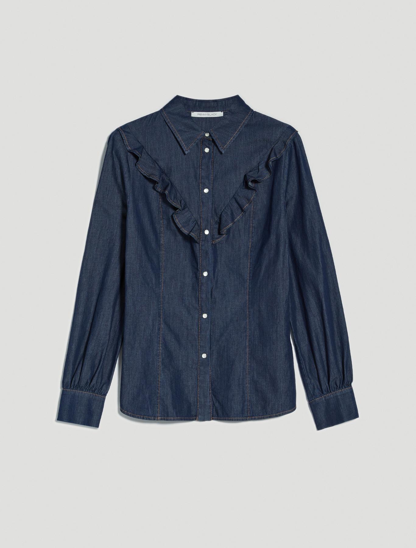 Denim shirt with ruches - midnight blue - pennyblack