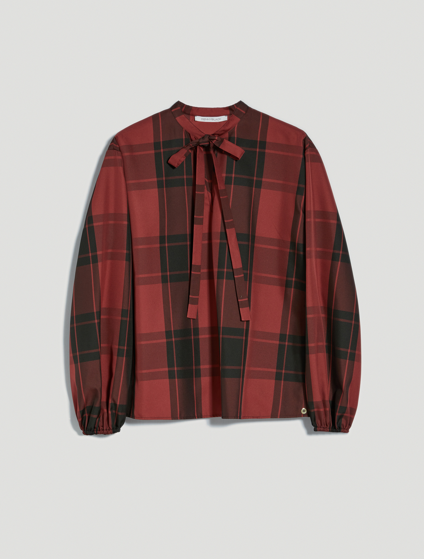 Checked taffeta blouse - burgundy - pennyblack