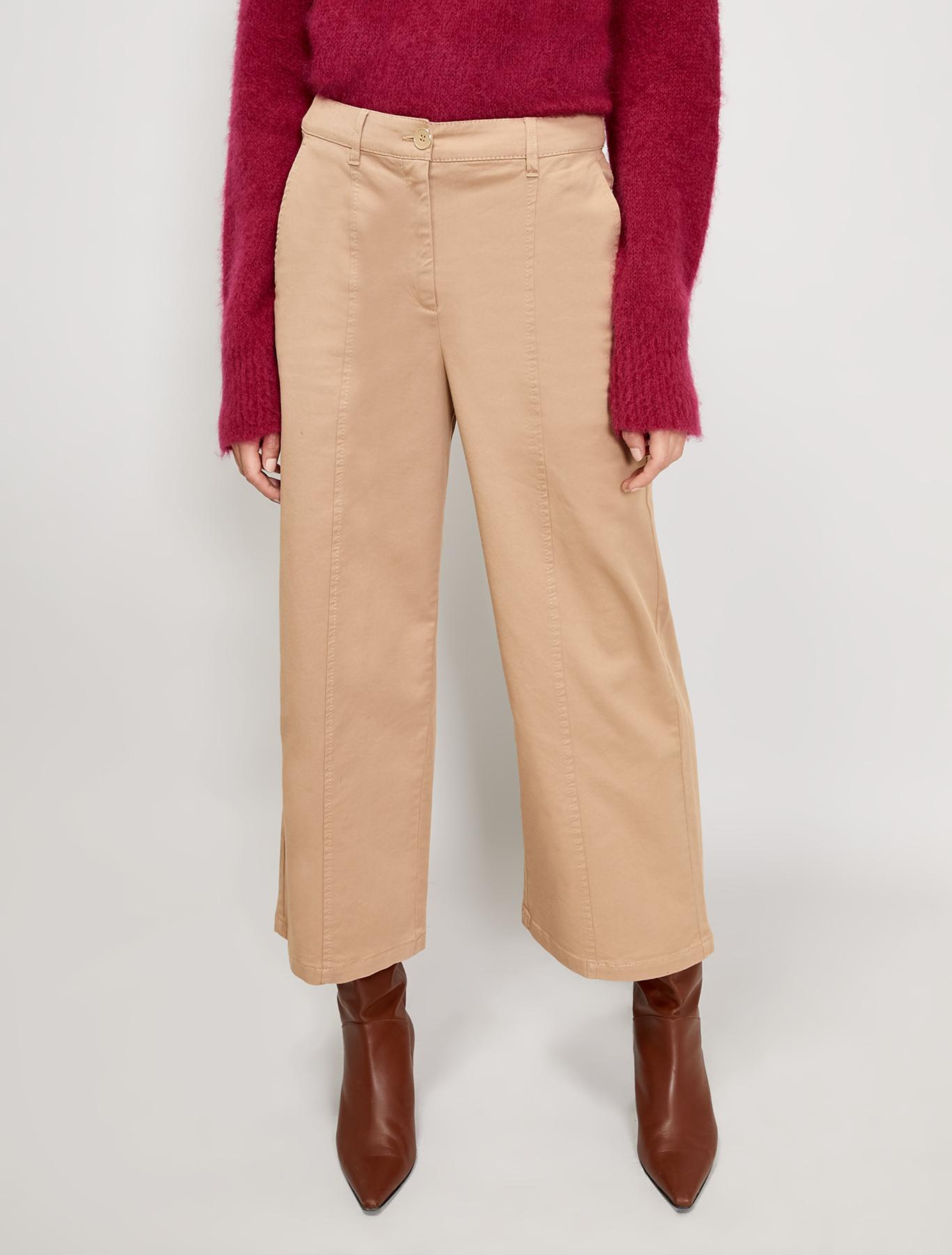 Wide-leg cotton trousers - beige - pennyblack