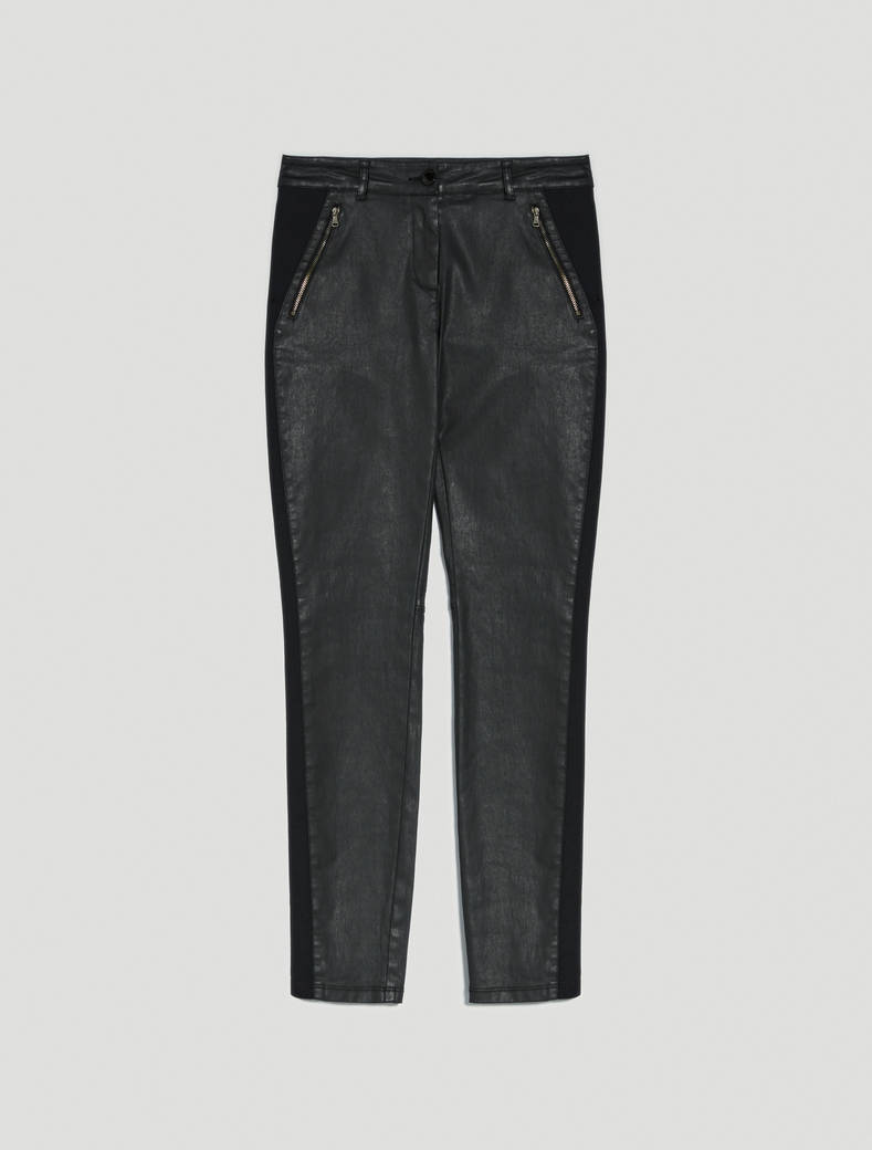Skinny trousers in coated satin - black - pennyblack