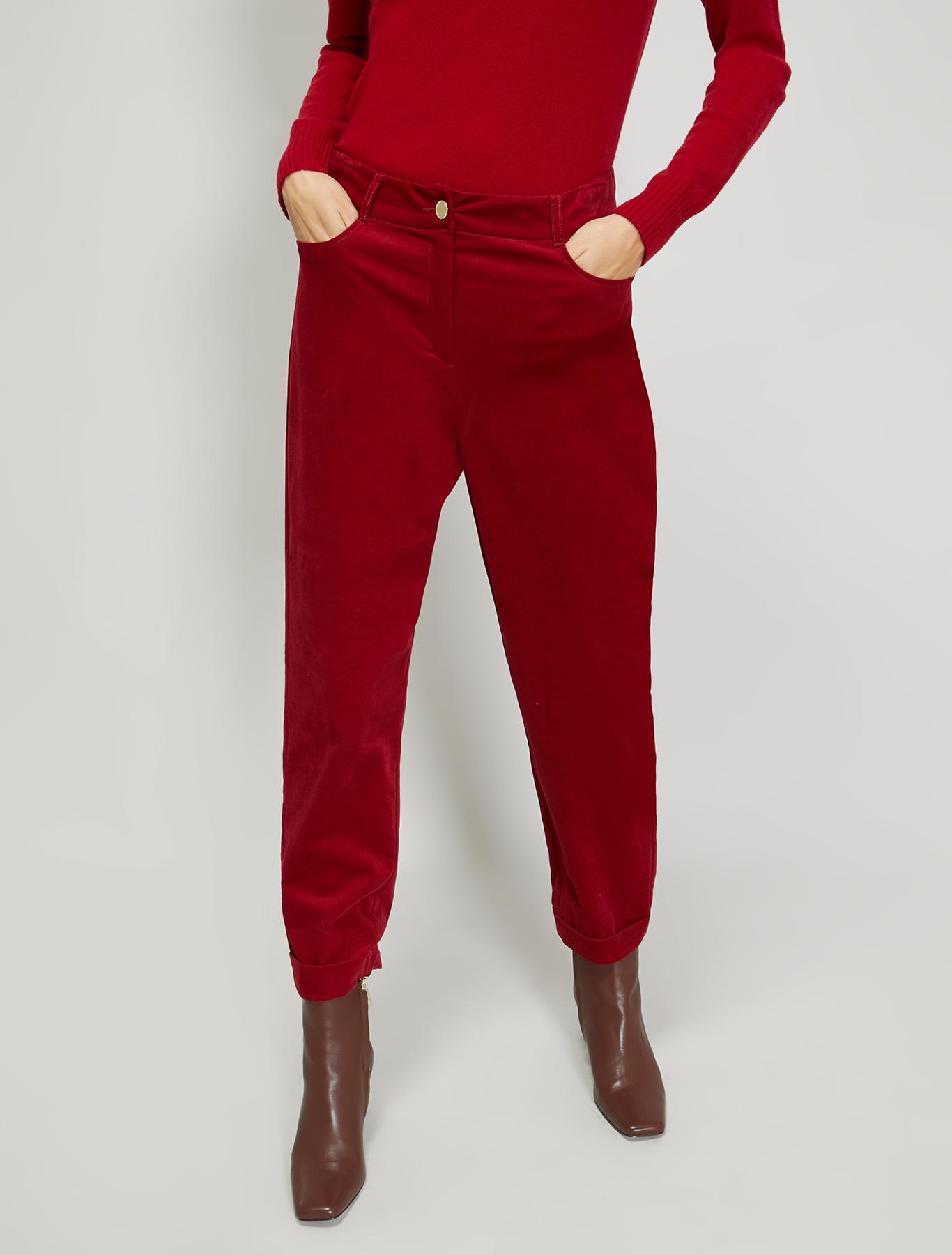 Slim velvet trousers - burgundy - pennyblack