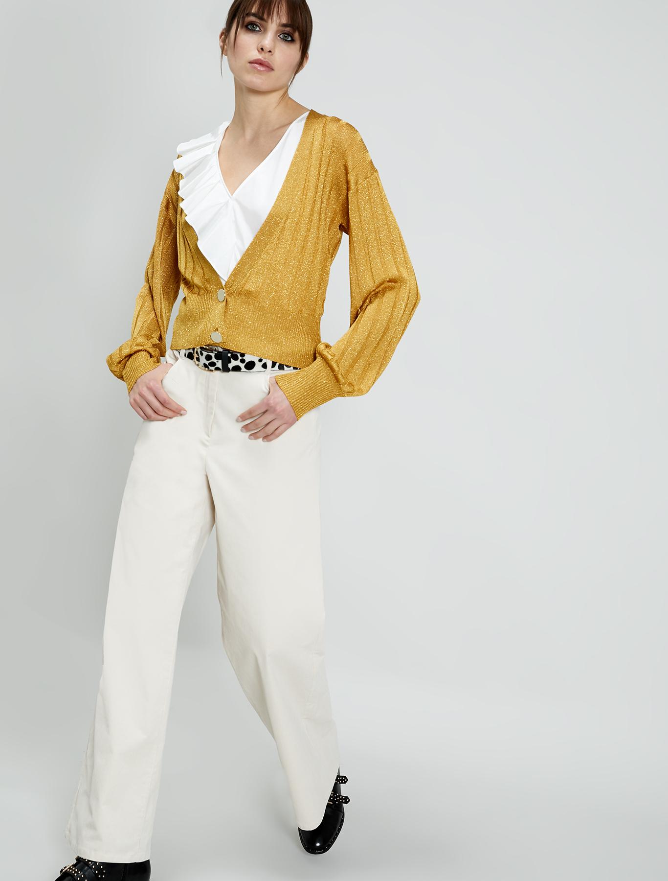Velvet wide-leg trousers - ivory - pennyblack