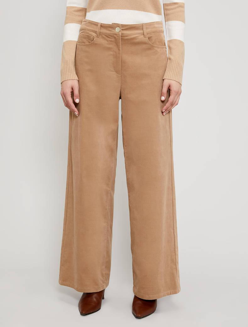 Velvet wide-leg trousers - beige - pennyblack