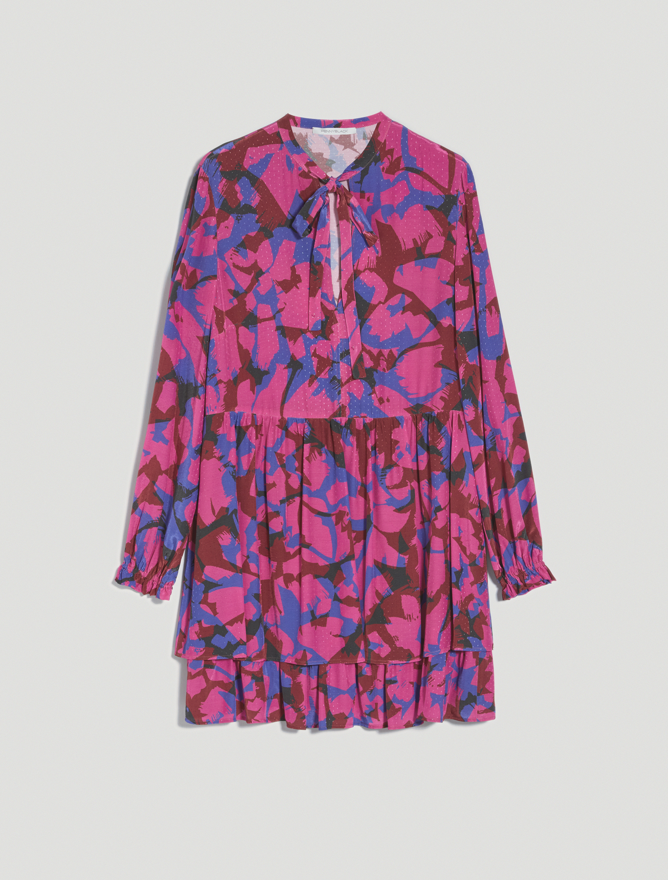 Patterned jacquard dress - fuchsia pattern - pennyblack