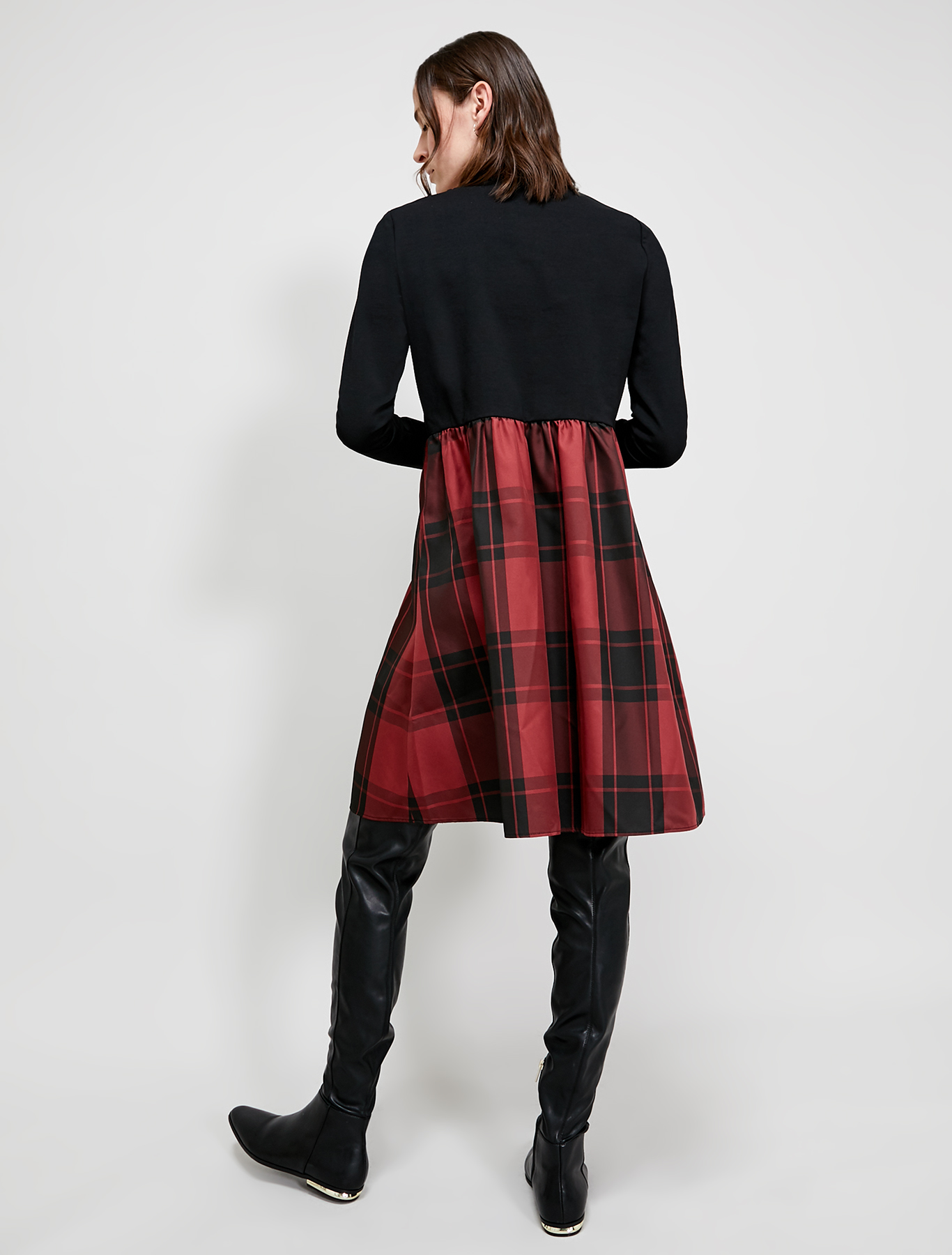 Jersey and taffeta dress - burgundy - pennyblack