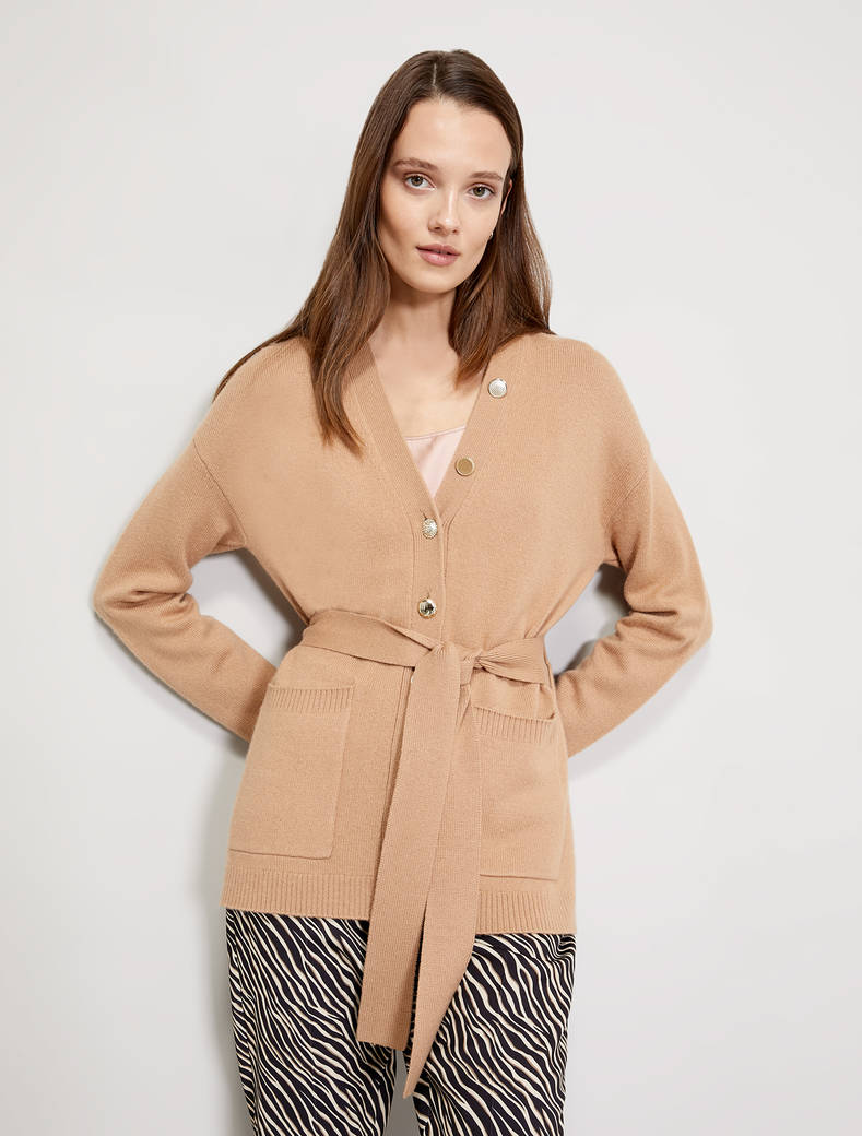 Cardigan with asymmetric buttons - beige - pennyblack