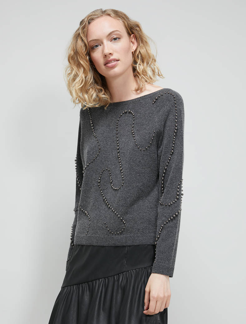 Jumper with pearls - anthracite - pennyblack