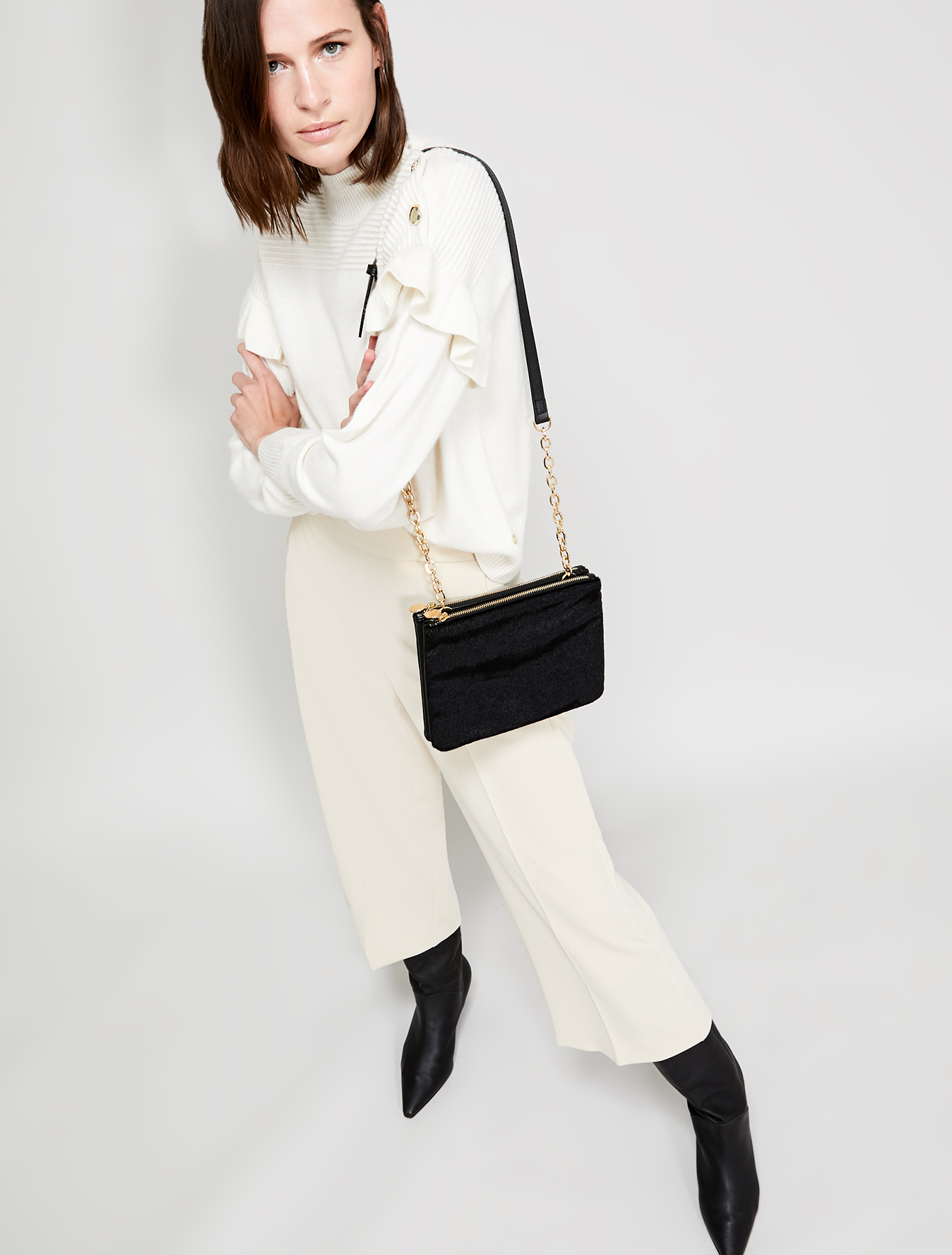 Jumper with ruches and buttons - ivory - pennyblack