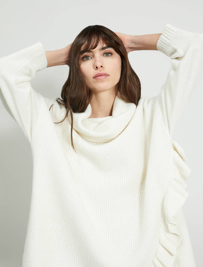 Oversized jumper with ruches - ivory - pennyblack