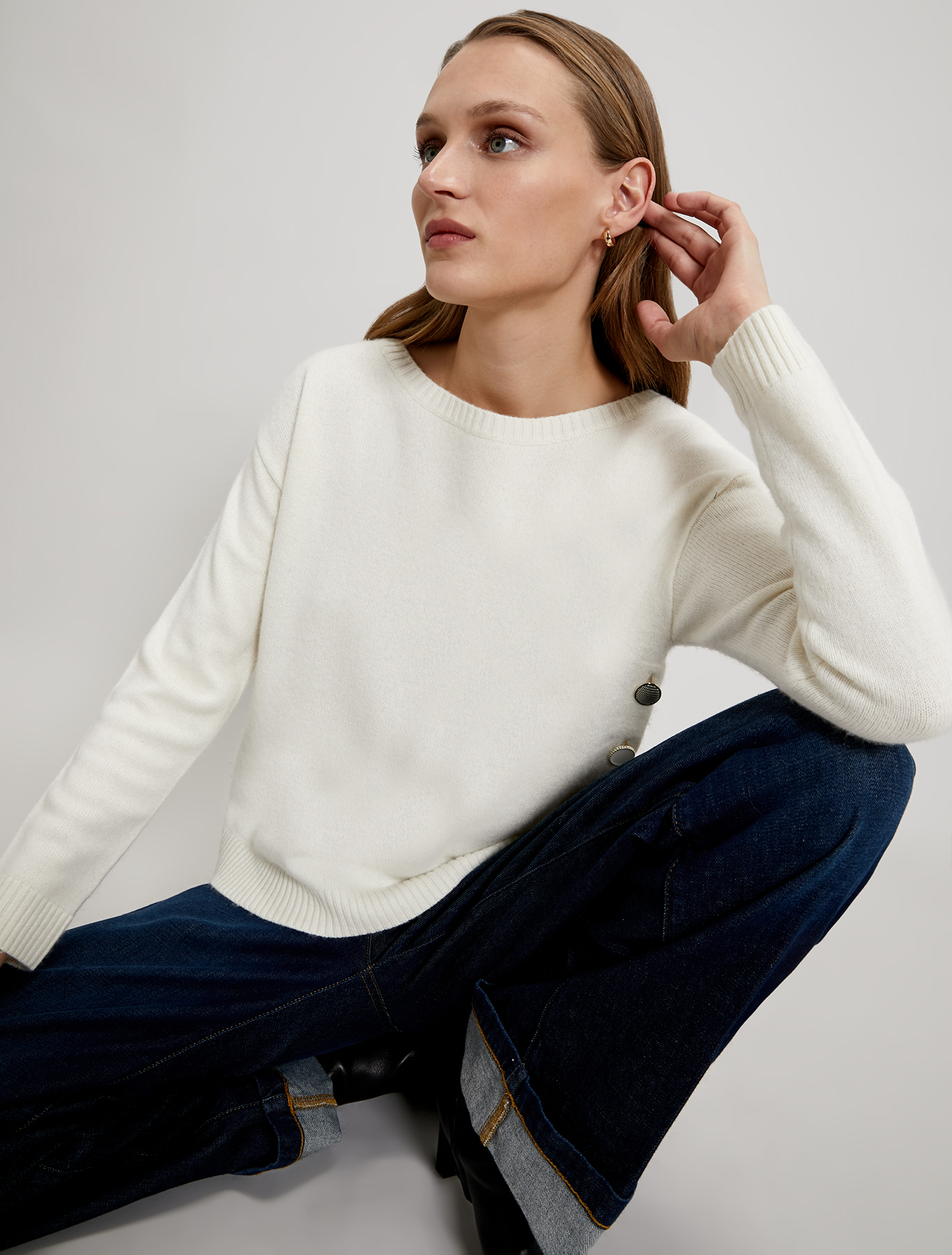 Jumper with asymmetric buttons - ivory - pennyblack