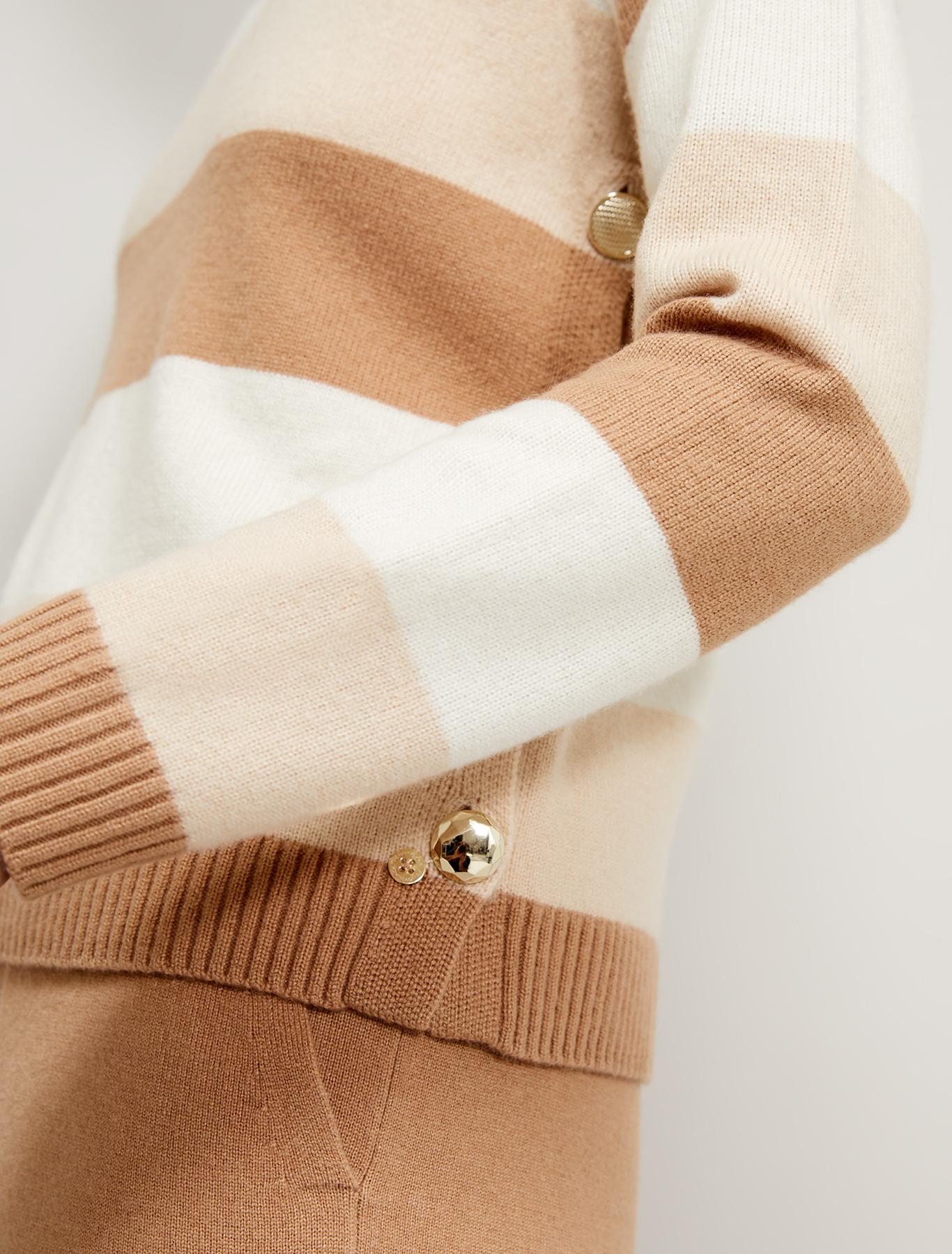 Jumper with asymmetric buttons - beige pattern - pennyblack