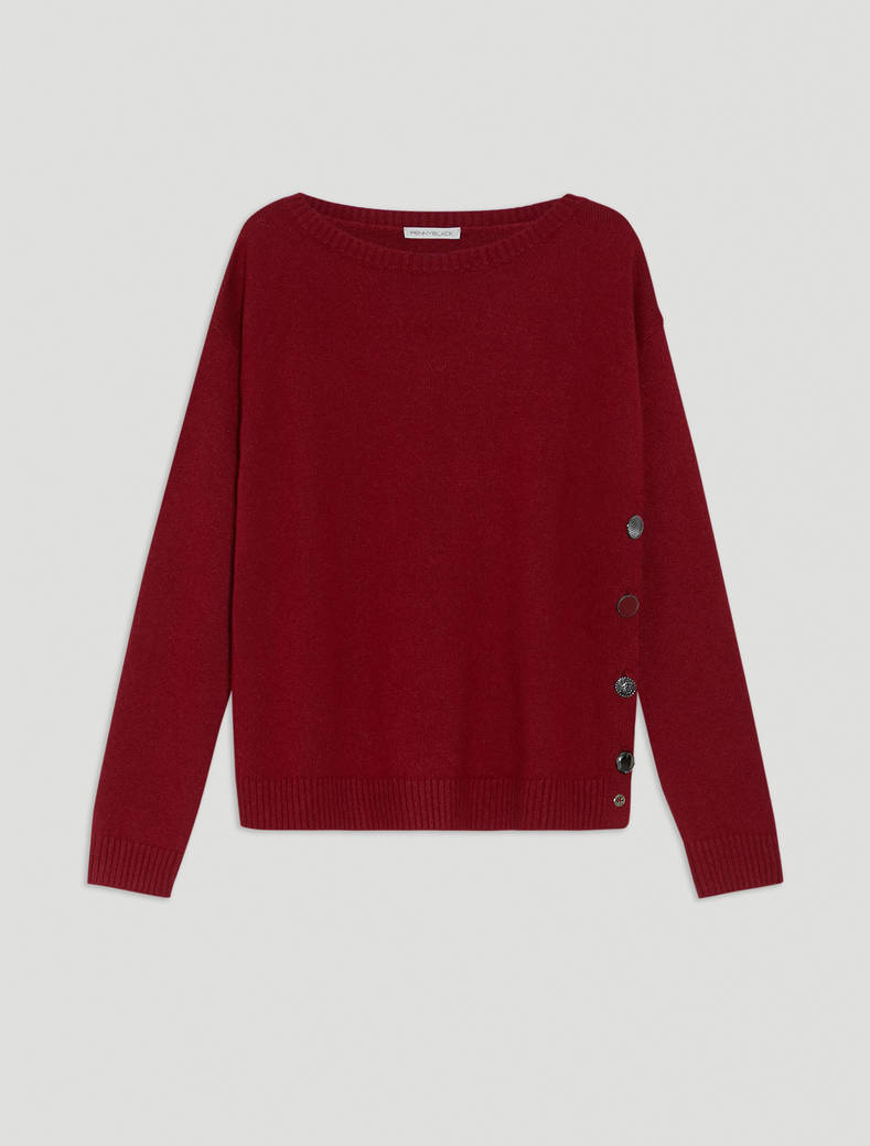 Jumper with asymmetric buttons - burgundy - pennyblack
