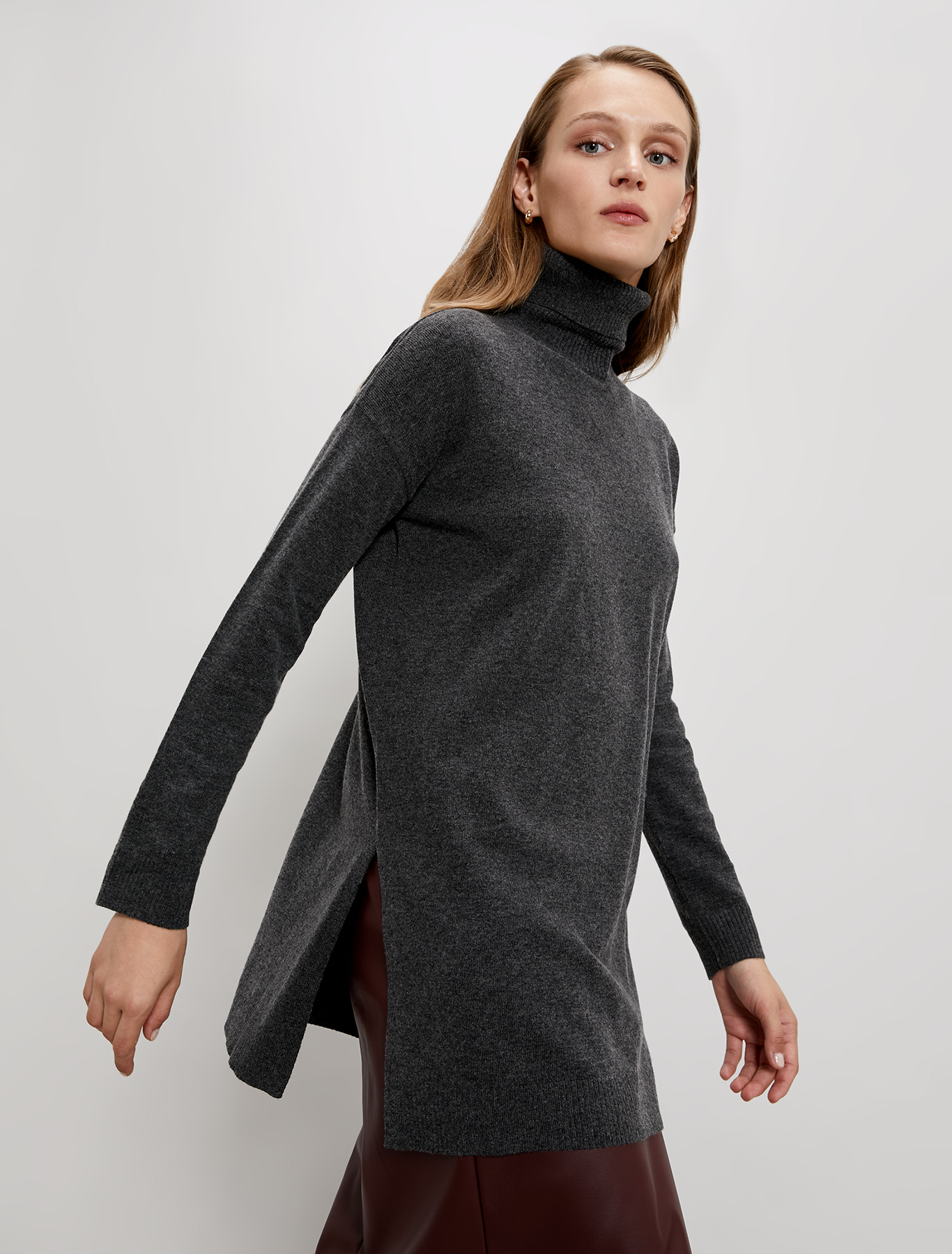 Polo neck jumper with slits - anthracite - pennyblack