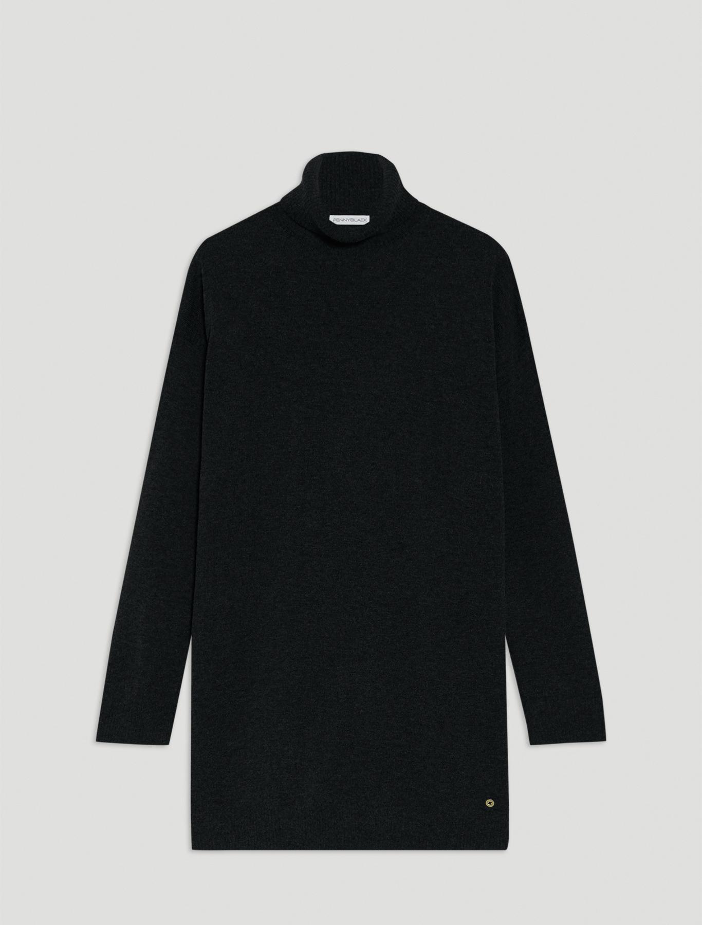 Polo neck jumper with slits - black - pennyblack