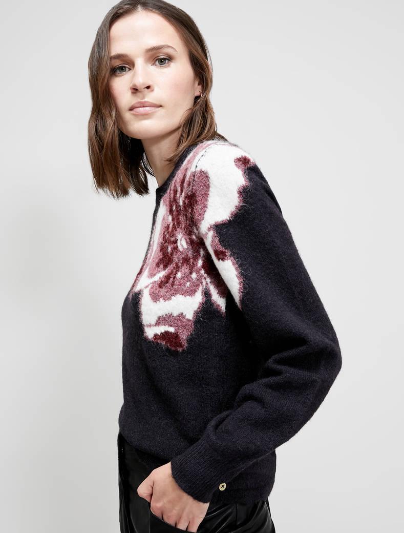 Floral jacquard jumper - black pattern - pennyblack