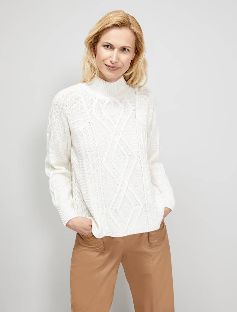 Pullover in a mixture of stitches - white - pennyblack