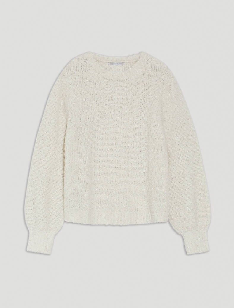 Bouclé pullover with puffed sleeves - ivory - pennyblack