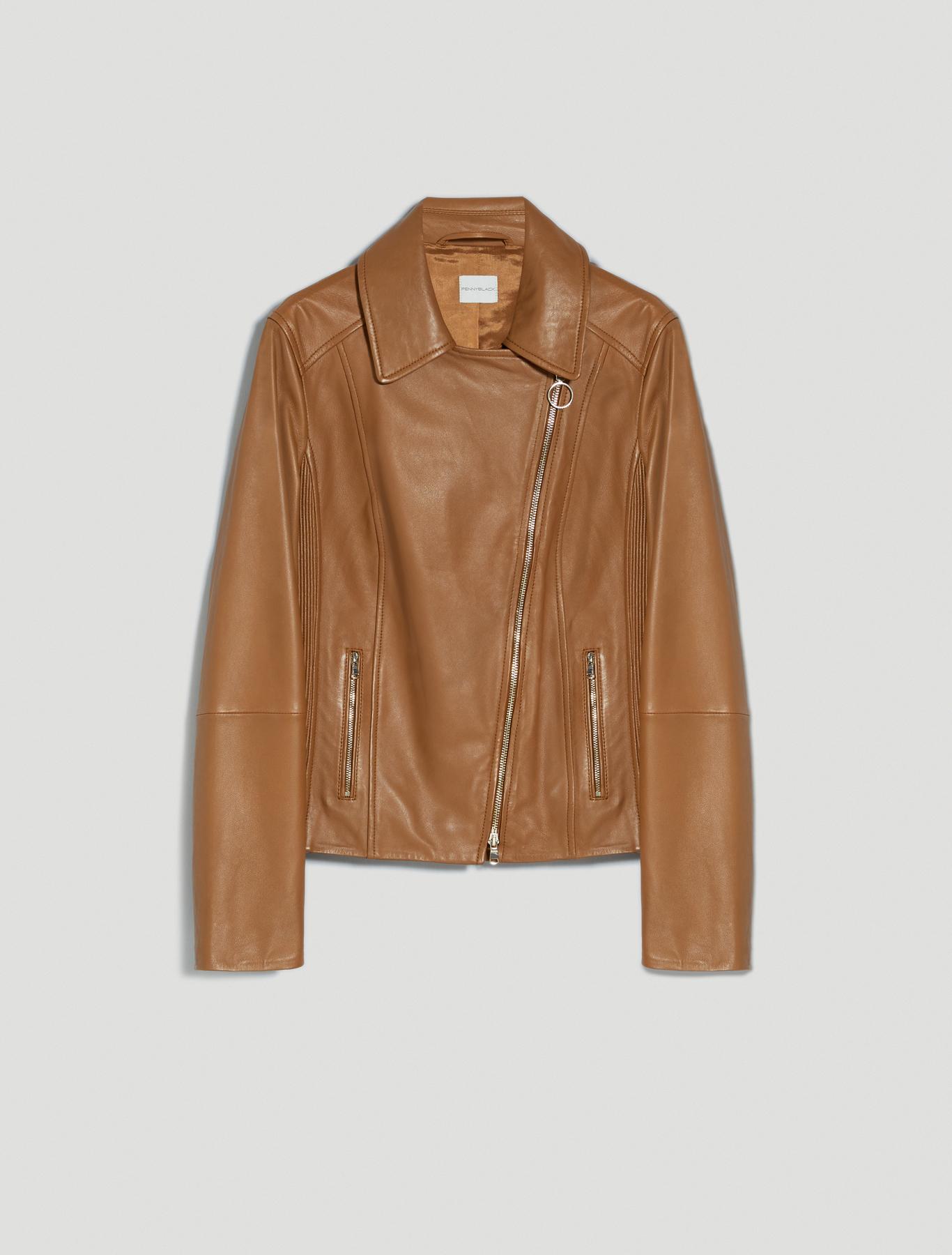 Nappa leather biker jacket - cocoa - pennyblack