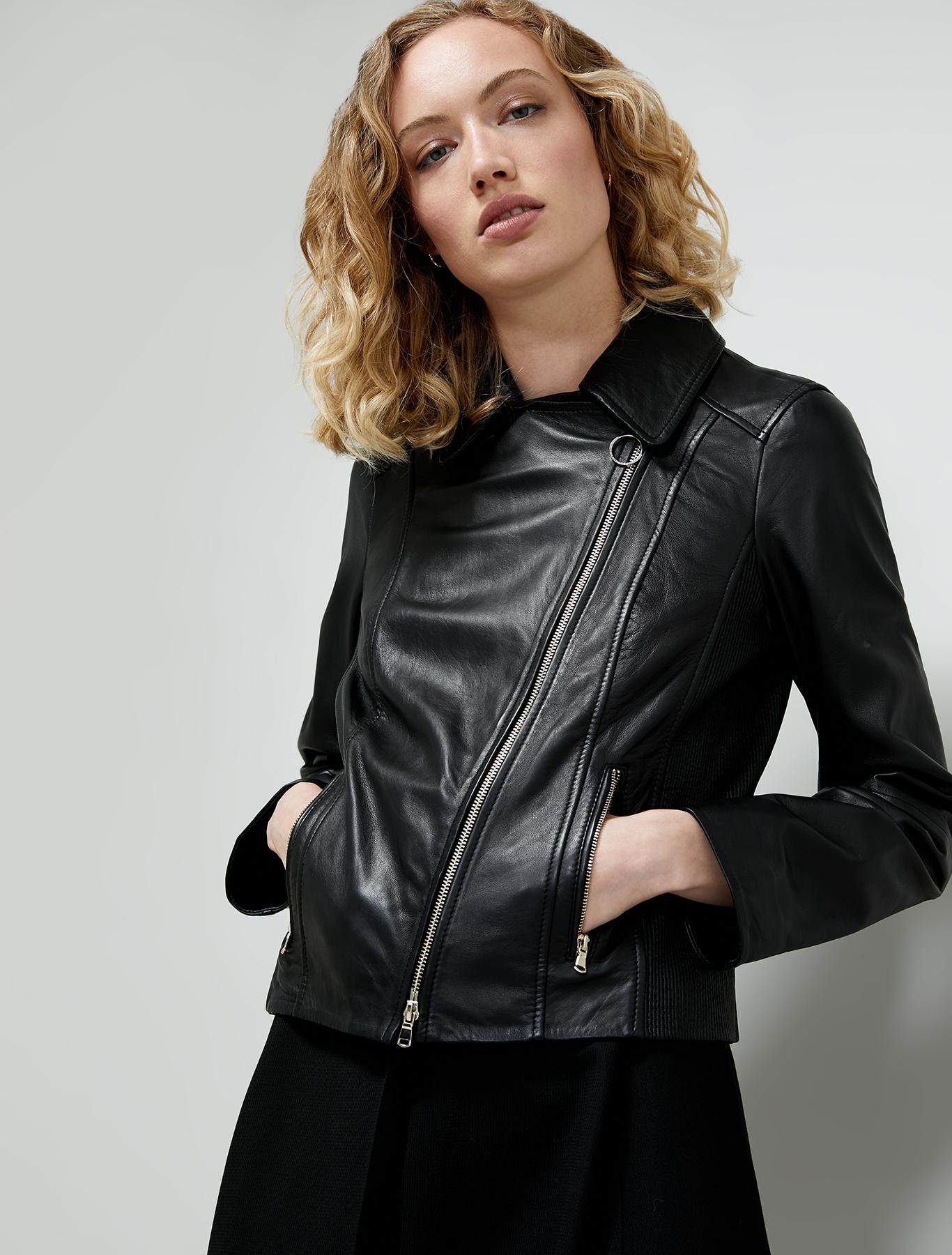 Nappa leather biker jacket - black - pennyblack