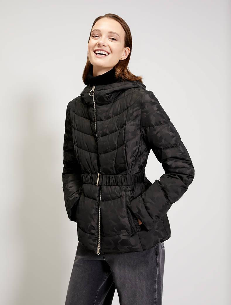 Slim down jacket with ruffles - dark grey pattern - pennyblack