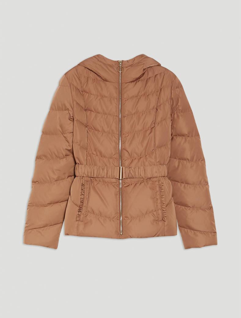 Slim down jacket with ruffles - beige - pennyblack