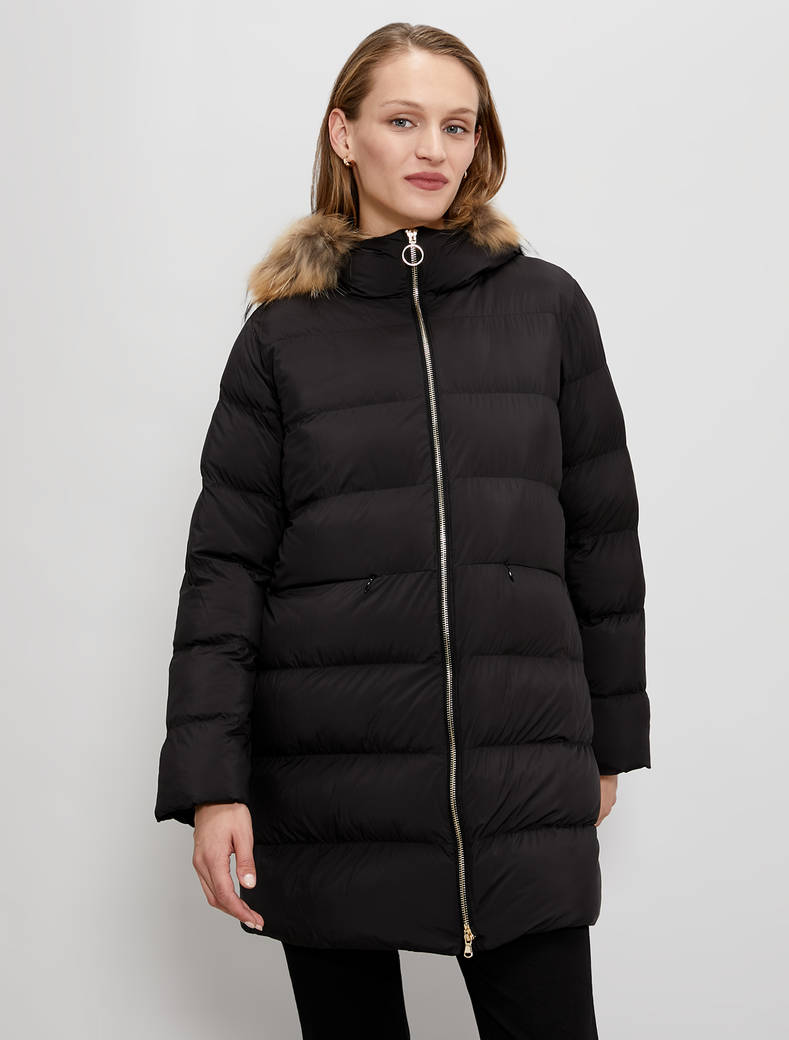 Padded coat with hood - black - pennyblack