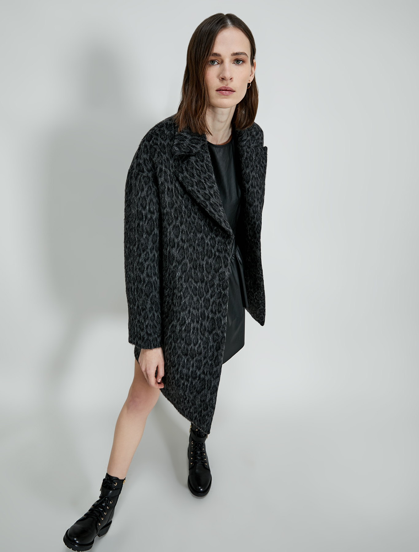Coated jersey dress - black - pennyblack