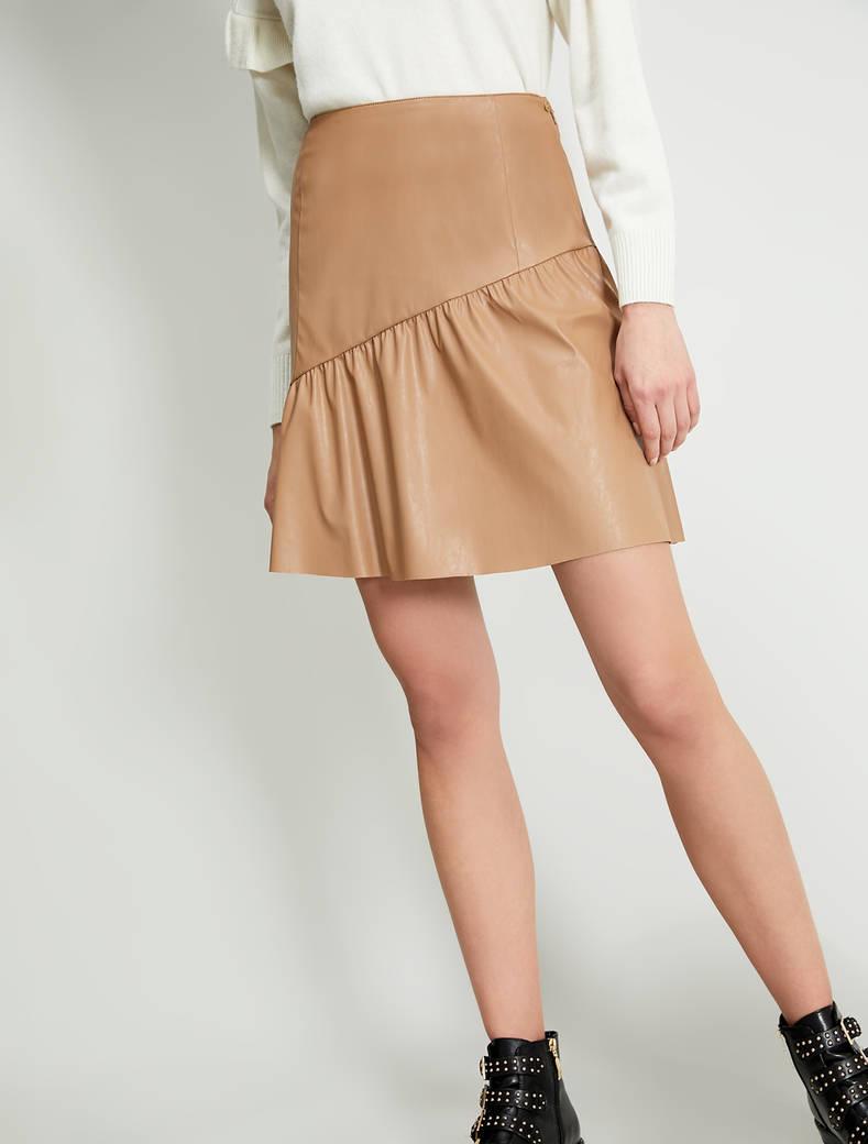 Coated jersey skirt - beige - pennyblack