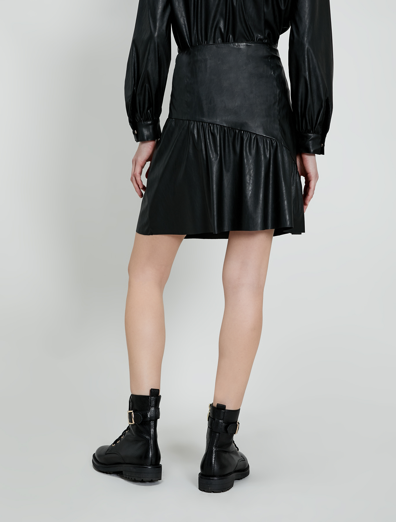 Coated jersey skirt - black - pennyblack