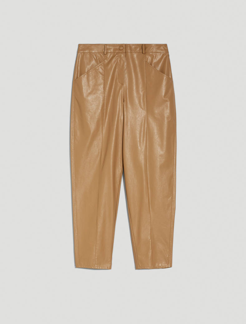Carrot trousers in coated jersey - beige - pennyblack