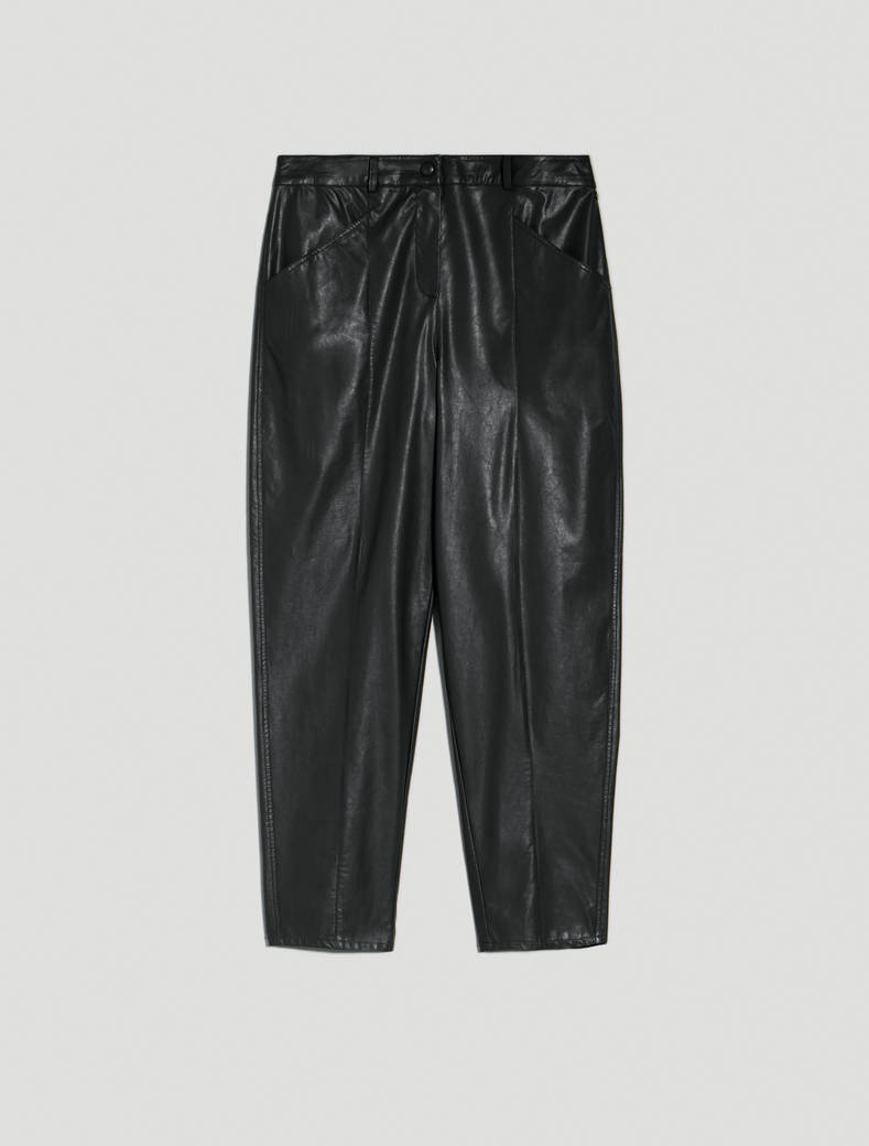 Carrot trousers in coated jersey - black - pennyblack