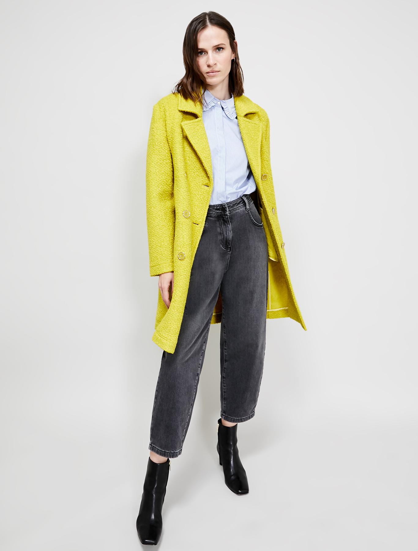 Bouclé jersey coat - pale yellow - pennyblack